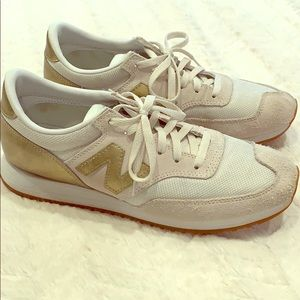 New Balance Gold and Cream Sneakers